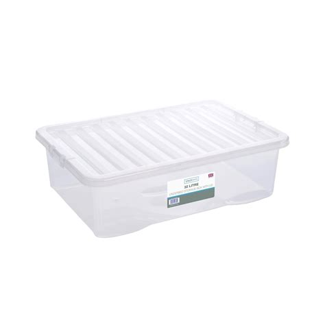 under bed box underbed clear storage box with lid 32l home storage b m