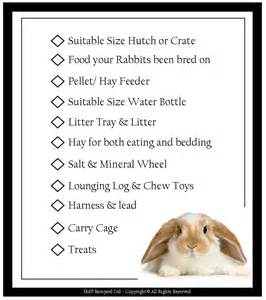 Bunny Beds Narla S Hutch Rabbit Check List