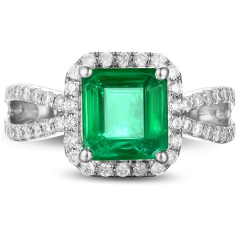 1 carat princess cut emerald and halo engagement