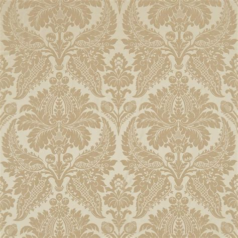 Geometric Pattern Drapes Curtains In Malmaison Damask Fabric Pale Gold 331932