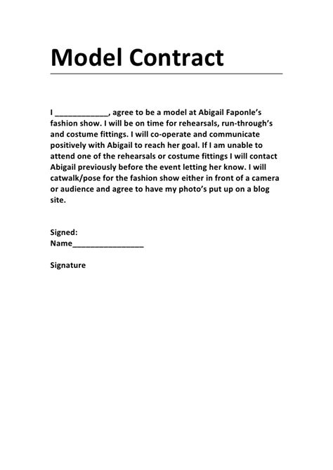model agreement template model contract