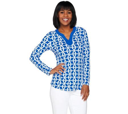 susan graver liquid knit susan graver printed liquid knit split neck top a276424
