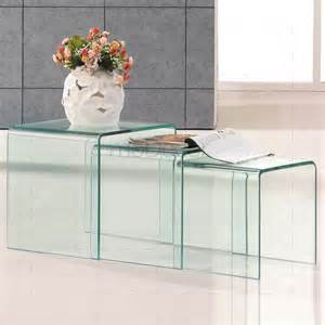 Classic Modern Furniture Reproductions by 3 Nested Clear Glass Coffee Side Tables