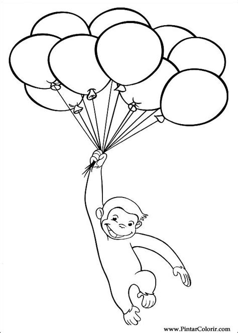 curious george coloring pages birthday drawings to paint colour curious george print design 034
