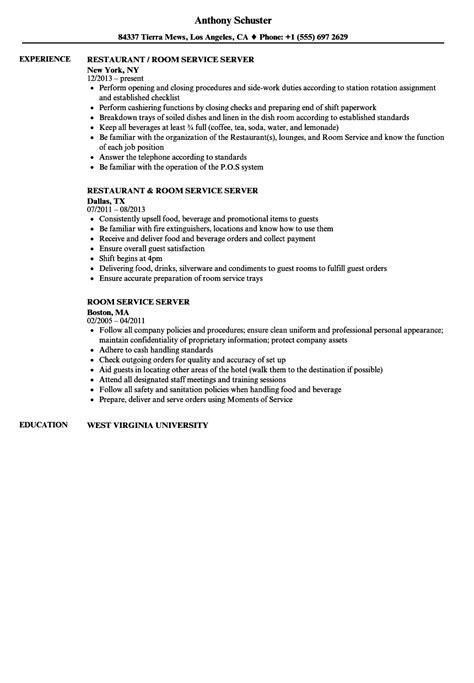 room service server resume sles velvet