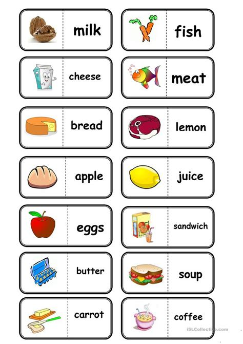 guess my word 35 food items worksheet free 8 free esl food items worksheets