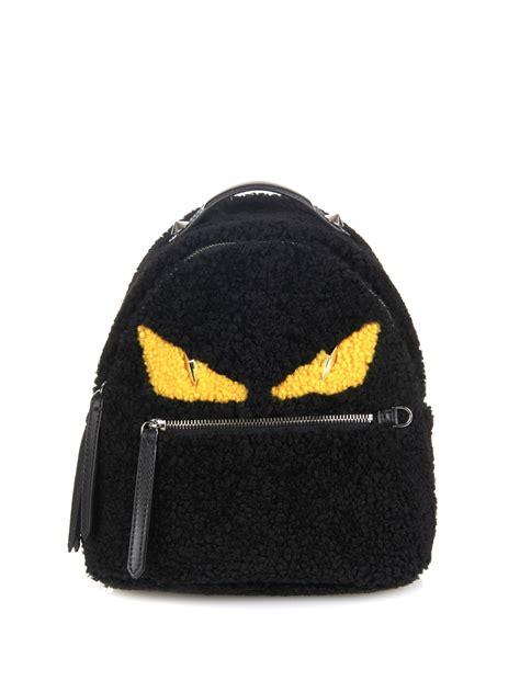Mini Fendy Eye fendi mini shearling backpack in black black