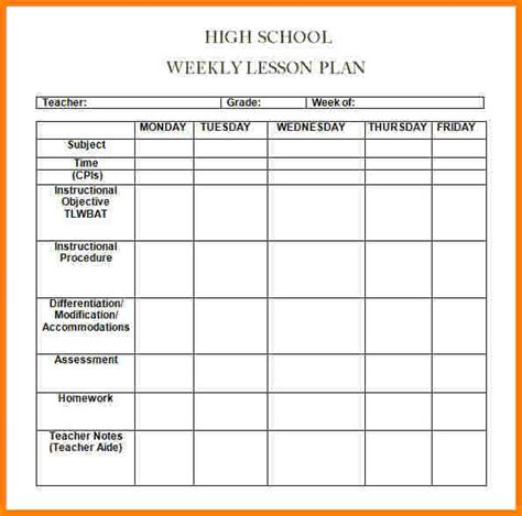 6 Week Lesson Plan Template 6 weekly lesson plan template word newborneatingchart