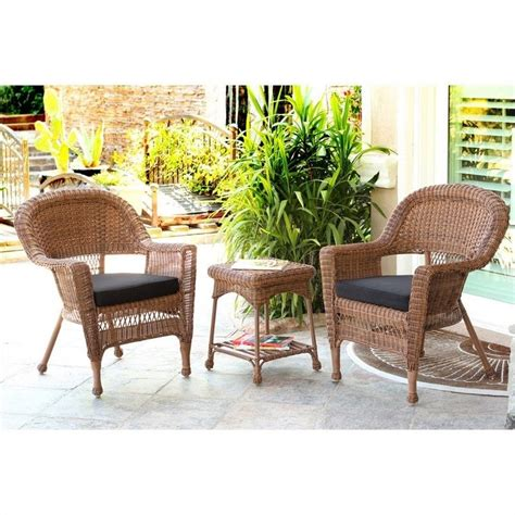 Jeco 3pc Wicker Chair And End Table Set In Honey With Broyhill Wicker Planter