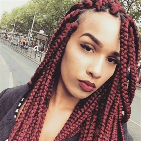 Burgundy Box Braids | box braids color red burgundy wine natural hair protective