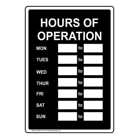 Hours Of Operation Sign Nhe 17911 Dining Hospitality Retail Opening Hours Sign Template
