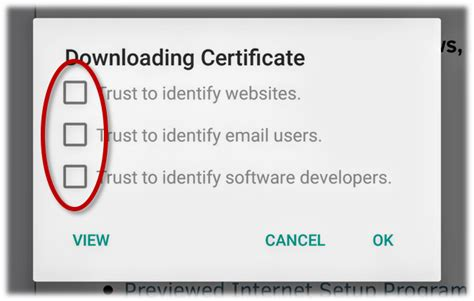 android certificate installer installing safeguard list certificate in android