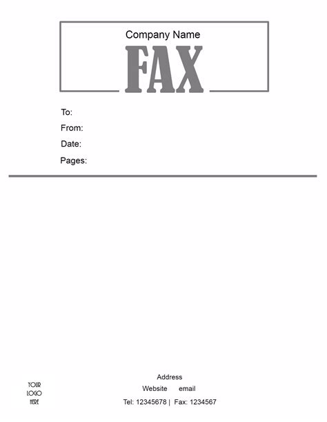 free cover sheet template word fax template