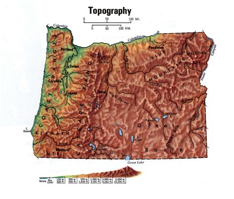 what is a topographical map topographical map of oregon state