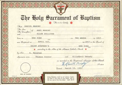 catholic baptism certificate template documents menu