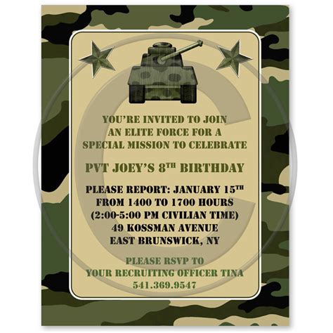 Free Camo Birthday Card Template by 40th Birthday Ideas Birthday Invitation Templates