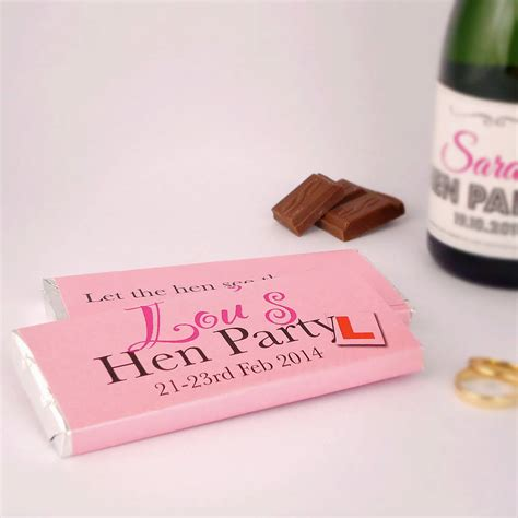 hen stag do personalised chocolate bars x6 by tailored chocolates and gifts notonthehighstreet com