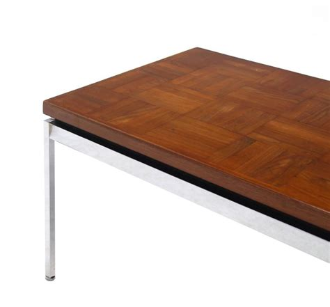 Parquet Coffee Table Solid Stainless Steel Heavy Base Rectangular Coffee Table With Parquet Top For Sale At 1stdibs