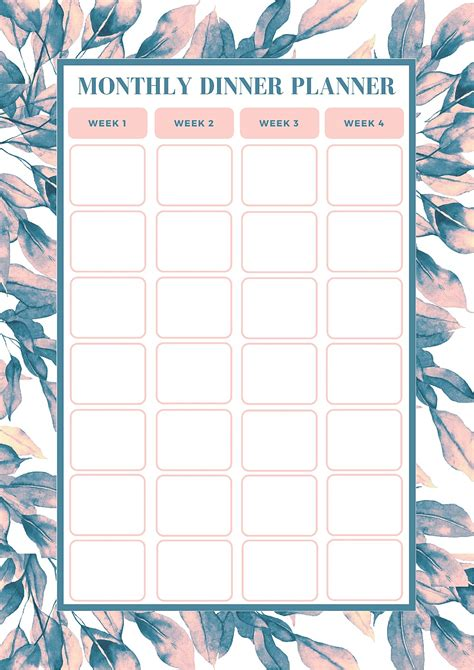 free monthly meal planning template bake play smile