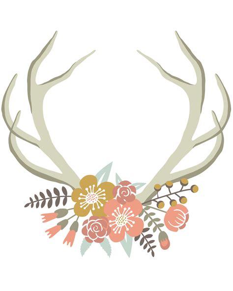 printable rustic art floral deer crown free nursery or gallery wall printable