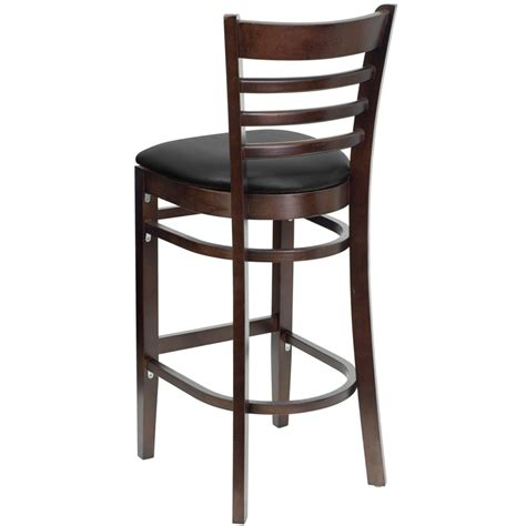 walnut finished ladder back wooden restaurant bar stool