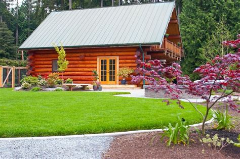 log cabin by lake rustic landscape seattle by