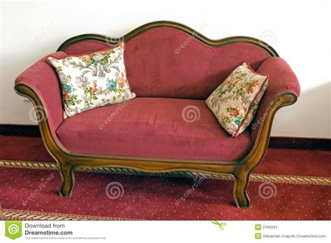 vintage red couch vintage red sofa stock image image of furniture wall