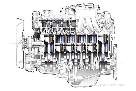 engine cross section isometric diagrams and exploded illustrations