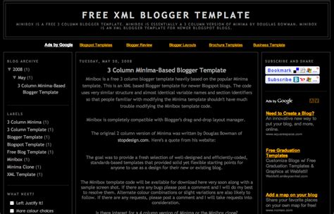 free xml themes download blogger free xml blogger template 3 column minima 3 col blogger