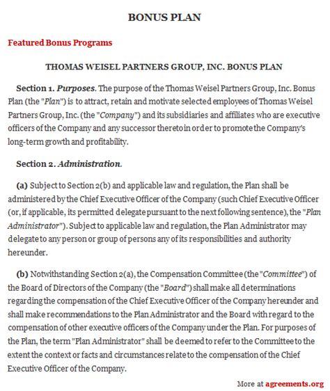 Bonus Plan Agreement Sle Bonus Plan Agreement Template Bonus Plan Template