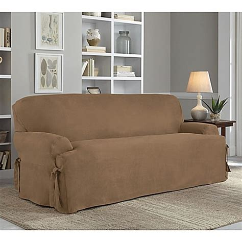 perfect fit sofa covers perfect fit 174 smooth suede relaxed fit t cushion sofa
