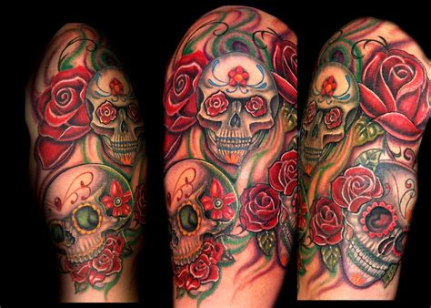 tattoos of sugar skulls and roses tattoos change sleeve tattoos for