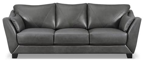 The Brick Leather Sofa by Laken Genuine Leather Sofa Grey The Brick