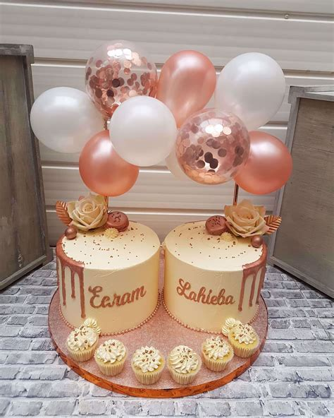OutOfMyBubble. Balloon Cake Topper Mini Garland Rose Gold Navy