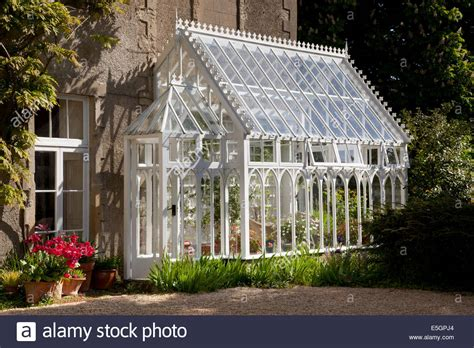 greenhouse side of house traditional wooden greenhouse attached to side of house english stock photo royalty
