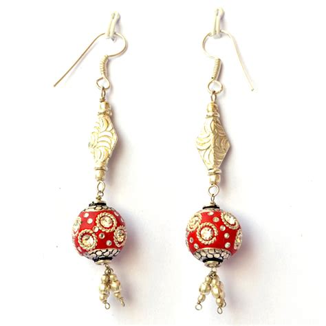 Handmade Earrings - handmade earrings with metal rings