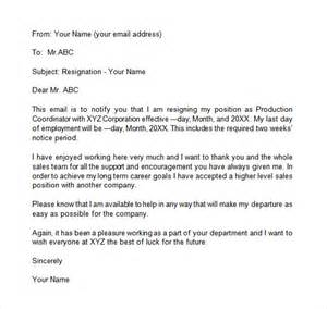 Sle Email Resignation Letter Format by Resignation Email Template 6 Documents In Pdf Word