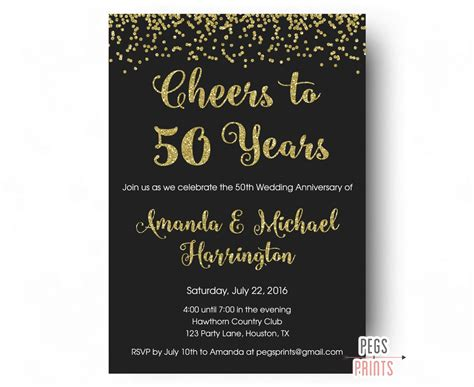 50th anniversary reception invitations cheers to 50 years invitation 50th anniversary invitation