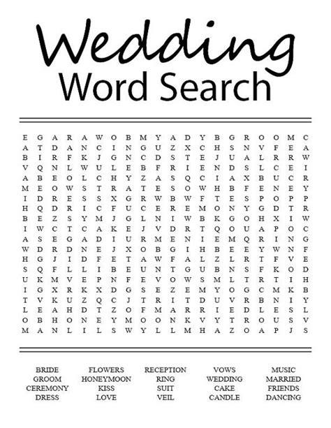 Wedding Search by Wedding Word Search
