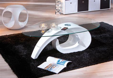 Table Basse Design Blanche En Verre Cohiba Tables Basses