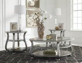living room end table sets coralayne silver metal glass 3pc rectangle coffee