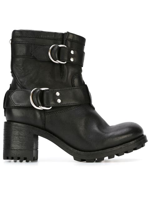 heeled biker boots diesel chunky heel leather biker boots in black lyst