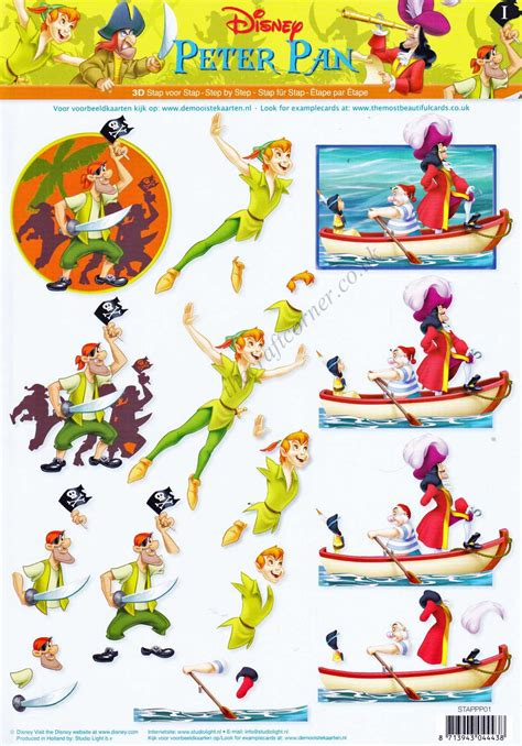 Disney Decoupage - disney pan captain hook 3d decoupage sheet