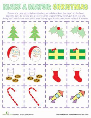 printable christmas memory game worksheets education com