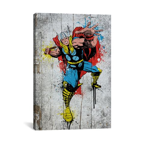 Enya Marvel 26 H marvel comic book thor spray paint 18 quot w x 26 quot h x 0 75 quot d marvel fan touch of modern