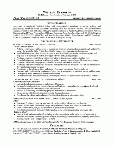 resume format for editing technical editor resume