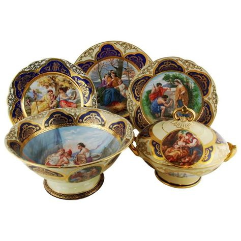 Vienna Bowl Set Dusdusan royal vienna style antique partial dinner set service by pauly venezia for sale at 1stdibs