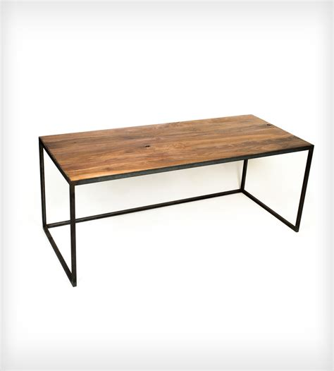 wood and steel desk long wood desk with industrial steel legs home furniture