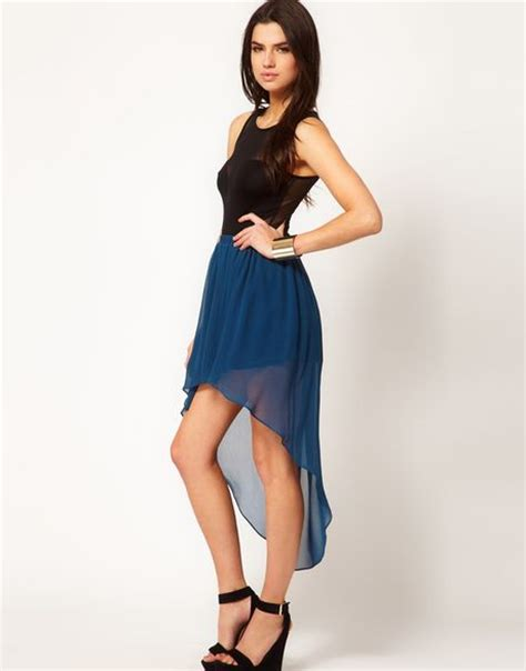 asos collection asos chiffon skirt with high low hem in