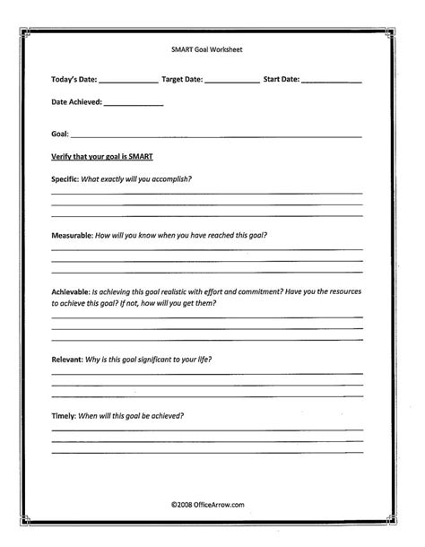 smart goals worksheet template wiildcreative